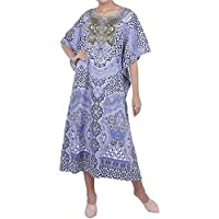 Miss Lavish London Kaftan Tunic One Size Beach Cover Up Maxi Dress Sleepwear Embellished Kimonos