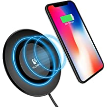 Wireless Fast Charging Pad, FLOVEME QI Wireless Charger Charging Base Quick Charge for iPhone X/ iPhone 8/8 Plus - Black
