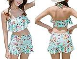 [笑顔一番] レディース 水着 可愛い 花柄 フリル 付 スカート 2点セット 体形カバー 大きい サイズ + シュシュ + スマホケース [A140-11] レイクブルー M
