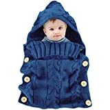 Colorful Newborn Baby Wrap Swaddle Blanket, Oenbopo Baby Kids Toddler Knit Blanket Swaddle Sleeping Bag Sleep Sack Stroller Wrap for 0-12 Month Baby (Blue)