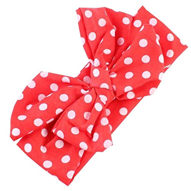 Faithtur 新生児 DIYかわいい女の赤ちゃんの点線ボウ鉢巻き (Red B)