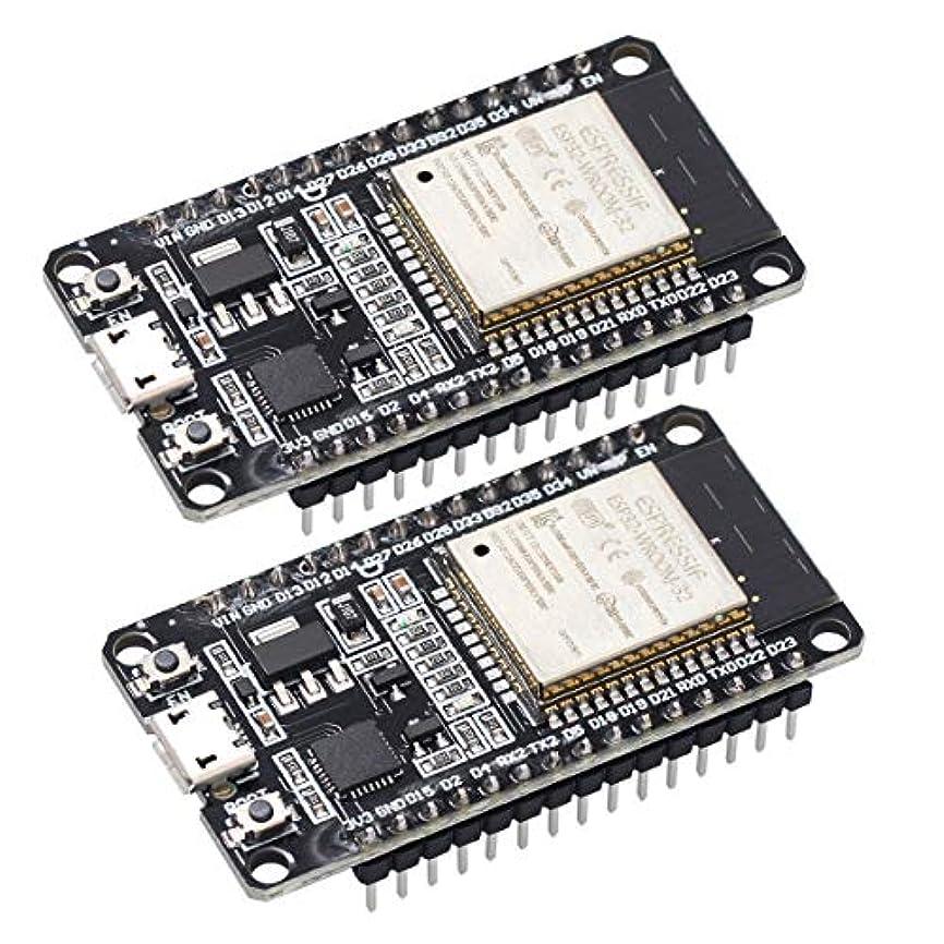 形式謎伝染性新型 ESP32 ESP-32S 2個セット NodeMCU-32S ESP32-WROOM-32 開発ボード 2.4GHz WiFi + Bluetoothデュアルモード デュアルコアCPU Arduino IDE使用可能 2個セット