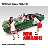 American Diorama Figure: Set of 4 Couples with 2 Carhop Waitress at Drive-in Diner 1:24 Scale [並行輸入品]