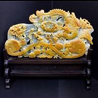 【石流通センター】☆高級一点物☆【彫刻置物】本翡翠 (台付き) No.29 天然石 パワーストーン