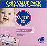 Curash Fragrance Free Baby Wipes, 6 packs of 80 wipes (480s wipes)