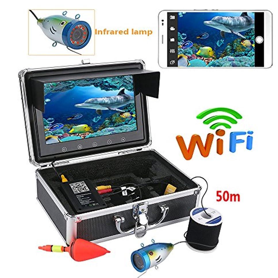 腐食するたまに静める9インチカラーモニター1000tvl水中釣りビデオカメラキットhd wifi用iosアンドロイドappサポートビデオ記録と写真を撮る,50M