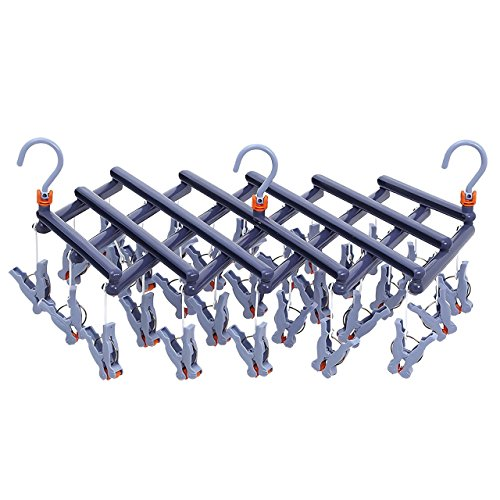 CONNECT-J 洗濯 物干し 引っぱりハンガー ピンチハンガー ラクラク 回転ピンチ 自由伸縮、収納 29ピンチ YJ-KS00 (ディープブルー)