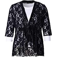 Chicwe Women's Stretch Plus Size Floral Lace Bohemian Cardigan Jacket 1X-4X