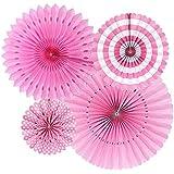 Funpa ペーパーファン 結婚式 誕生日 記念日 出産お祝い パーティー 飾りづけ デコレーション 全6色 紙 (濃いピンク)