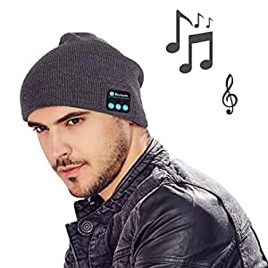 MOCREO(モクリオ) Bluetoothイヤホン内蔵 ニット帽 スピーカー付き ニット帽 ブルートゥース 帽子 キャップ ニット帽+音楽(グレー)