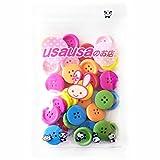 usausaのお店 カラフルウッドボタン 4つ穴 20mm 30個セット (105)