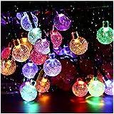 Upoom Solar String Lights Garden 50 LED 24Ft Outdoor String Lights Multi-Colored Waterproof Crystal Ball Fairy Lights, Decora