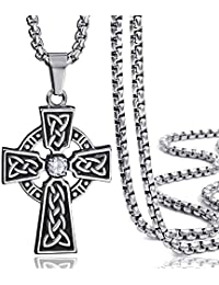 Elfasio Jewelry Stainless Steel Celtic Cross Pendant Necklace Mens Boys Chain 18inch-30inch