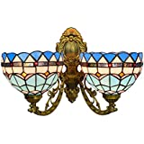 Tiffany Style Blue Mediterranean 2 Arms Wall Lamp Vintage Stained Glass Upward Downward Wall Sconce Lights for Bedroom Living Room Hallway Balcony,20cm