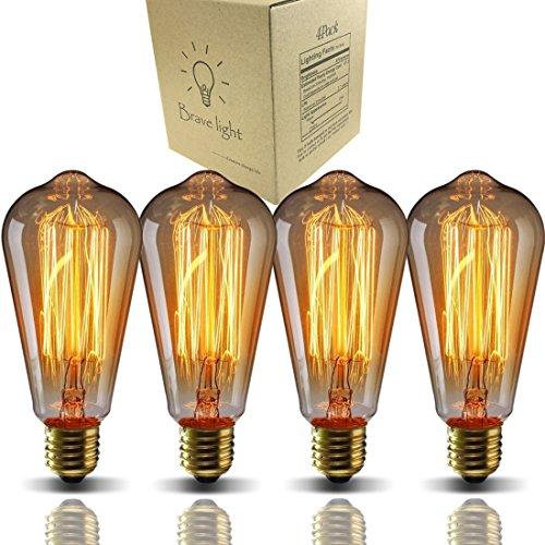 Bravelight-エジソン電球 60W E26/ E27口金 ST64 4個入り ヴィンテージエジソンランプ タングステンフィラメント電球(クリア) アンティーク風 調光器対応 ホーム照明装飾用器具 電球付け替え