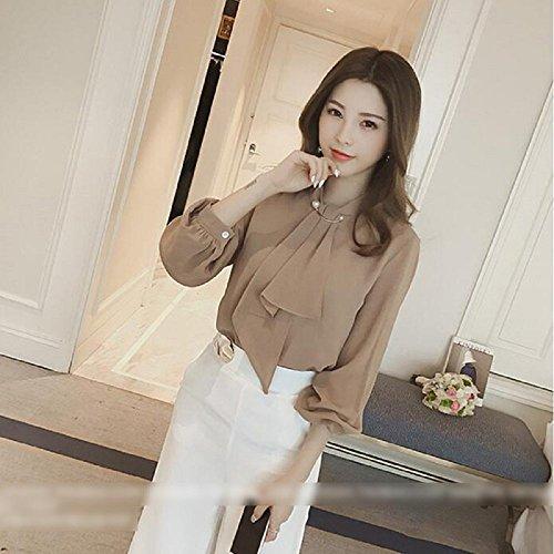 (huanggu)フアングーレディースゆるシャツ春シフォンブラウスリボン長袖フォーマル(ベージュ,XL)