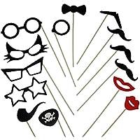 【Cat fight】 フォトプロップス ひげ メガネ 14枚セット 結婚式 パーティー 誕生日 余興 小道具