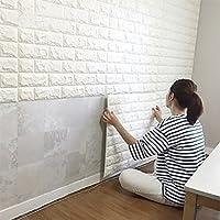 ホワイトレンガ調デザイン はがせる ウォールステッカー 壁紙シール 50枚セット70cm*77cm