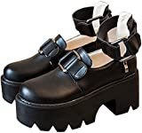 (Lady Oliver) レディース 厚底 靴 ローファー パンプス ゴスロリ ヒール シューズ 厚底靴 ブーツ 黒 (23�p)