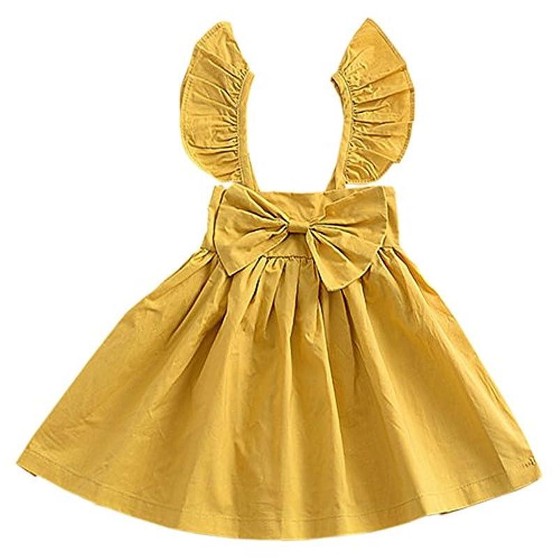 逆さまにダイアクリティカル興奮するDeylaying ベビー新生児の女の子のフリルノースリーブ大きなちょう結びのドレス結婚式の党のプリンセスドレスサマーベストのプリーツスカート