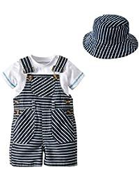 エルフ ベビー(Fairy Baby) オーバーオール男の子 キーズ ロンパース ストライプ柄サロペット 半袖Tシャツ 帽子 3点セット
