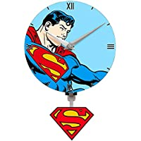 Children's Superman clock, and Free Justice League jumbo Colouring book 96 page.