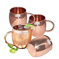 Set of 4 - Prisha India Craft Copper Barrel Mug Classic for Moscow Mule 520 ML / 17 oz Pure Copper Mug, Copper Mule Cup, Moscow Mule Cocktail Cup, Copper Mugs, Cocktail Mugs - with No Inner Linings by Prisha India Craft