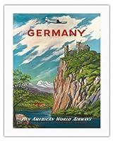 ドイツ - ライン川 - パンアメリカン航空 - ビンテージな航空会社のポスター c.1950s - キャンバスアート - 51cm x 66cm キャンバスアート(ロール)