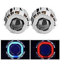 DADANGSH 2.5インチ隠された二重天使の目HB4 H7 H4が付いているオートバイ車の二重光学レンズ LEDカーライト (Color : Blue+Yellow)