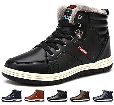 [Sixspace] スノーブーツ メンズ 防水 防寒靴 スノーシューズ 防滑 アウトドアシューズ ウィンターブーツ 綿雪靴 滑り止め ブラック 24cm