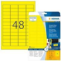 HERMA 8030ラベル耐摩耗性のあるA4 45、7×21、2 mmイエローの強粘着フィルムマットweatherpr。 1200個