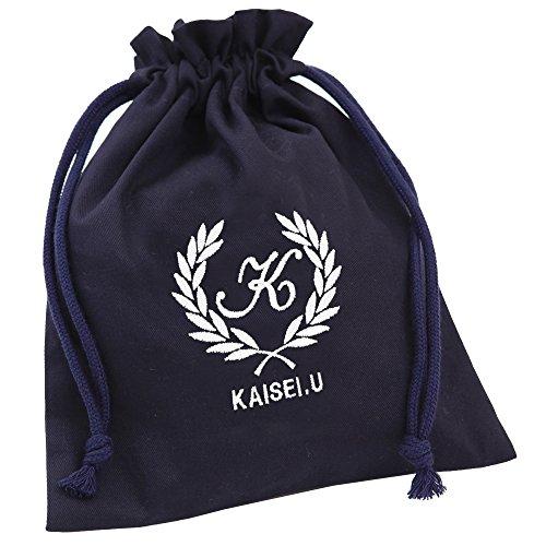 給食袋Lサイズ 巾着袋  名入れ ロゴ葉 紺 入園入学に必要...