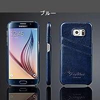Samsung Galaxy S7 edgeケース ギャラクシー S7 エッジ ケース SC-02H/SCV33 docomo au サンスム スマホケース 背面カバー カード収納 シンプル 単色 ブルー