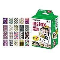 富士フイルム インスタックス ミニ インスタントフィルム (20枚撮り) + 20枚入り ステッカー フレーム 富士フィルム Instax Prints用