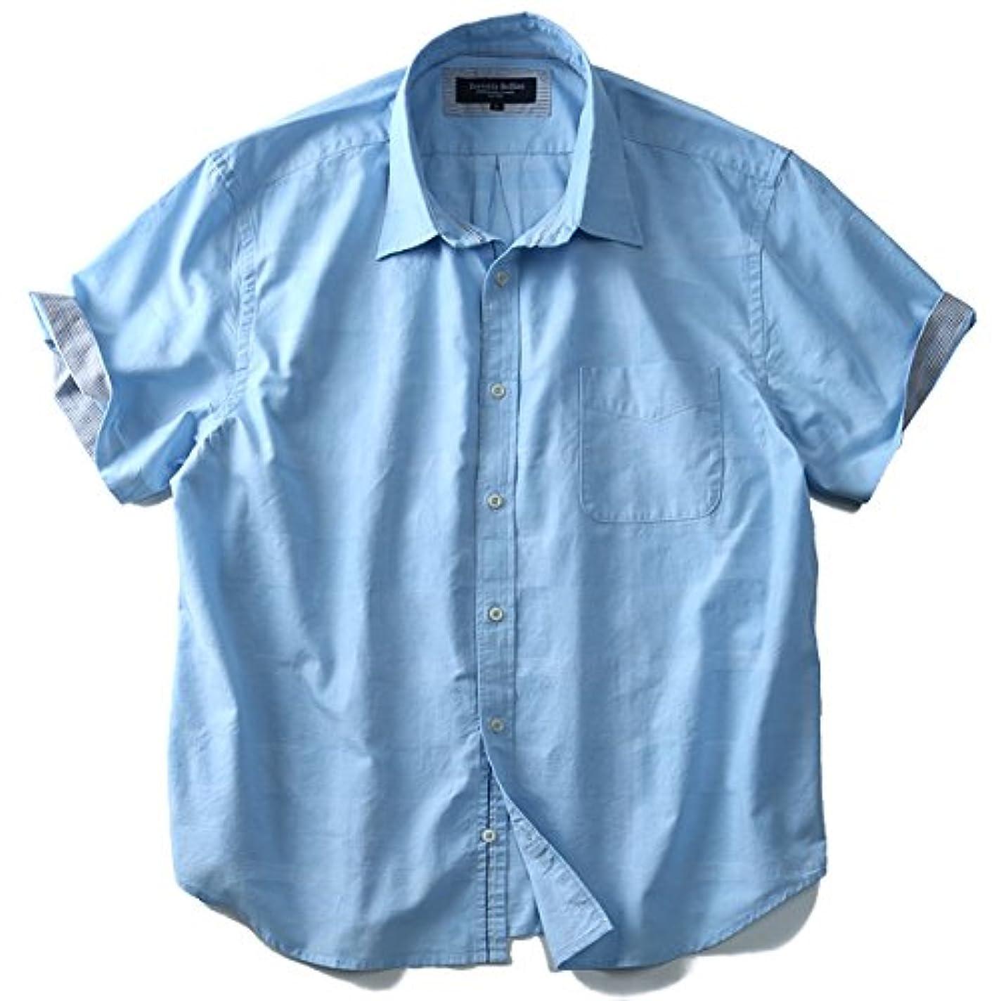 ステージこだわり説教綿麻 地柄 チェック 半袖 シャツ 大きいサイズ メンズ 2L 3L 4L 5L 6L SARTORIA BELLINI