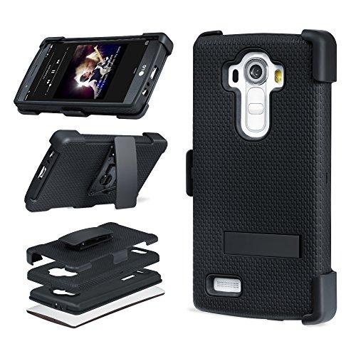 スマホケースPlemo LG G4スマートフォンカバー スマートフォン用ホルスター 耐衝撃三重構造(回転式キックスタンド、ベルト用クリップ付き)