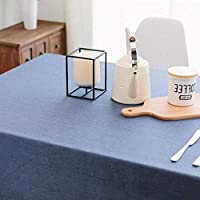 ソリッド防水テーブルクロス, ダイニングのための長方形のリネン洗濯できるテーブルカバー キッチン レストラン-ネイビーブルー 120*160cm