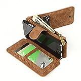 [CIMATECH]  取り外し可能 手帳型カバー 財布一体型 アイホンケース 定期入れ Iphone 6S 小銭入れ (Iphone 6S, ブラウン (茶色))