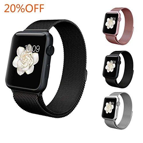 BRG apple watch バンド,ミラネーゼループ アップルウォッチバンド アップルウォッチ1 apple watch series 2 apple watch series 3 ステンレス留め金製(42mm,ブラック)18ヶ月保証付き