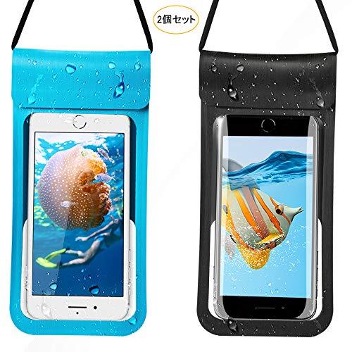 DesertWest 防水ケース スマホ用 防水携帯ケース IPX8認定 指紋認証対応 iPhone X/iPhone8 plus/iPhone 7plus/Phone6 6s Plus Android 6インチ以下全機種対応 水中撮影 海水浴 お風呂 潜水 温泉 水泳など適用 「2本入」