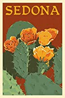 セドナ、アリゾナ州–ウチワサボテン–活版 12 x 18 Art Print LANT-67991-12x18