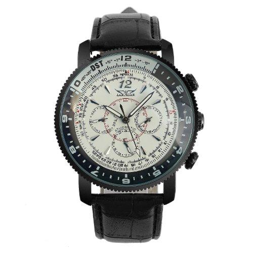 ESS 機械式腕時計 ホワイトダイヤル ブラックレザー 自動ストラップ シックスハンドズ アーミー WM345