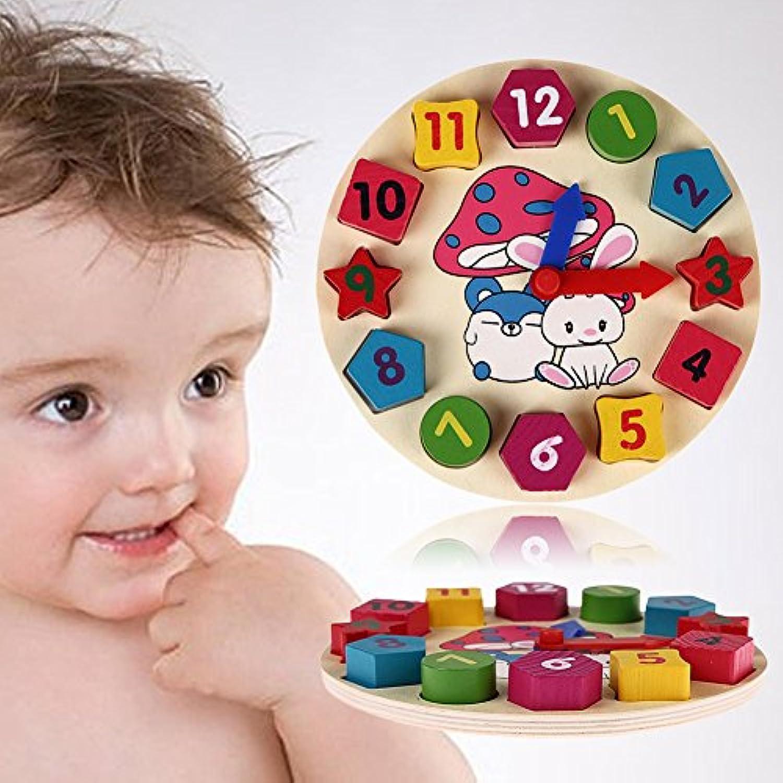 Baby Toys 12番号木製おもちゃパズルジオメトリデジタルクロック教育木製おもちゃfor Kids子供木製おもちゃ