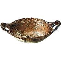 陶板 : 63-06468 萬古焼 直火?電子レンジ?オーブン対応 鉄釉変形陶板(小) 24.5x18.5cm SANTO