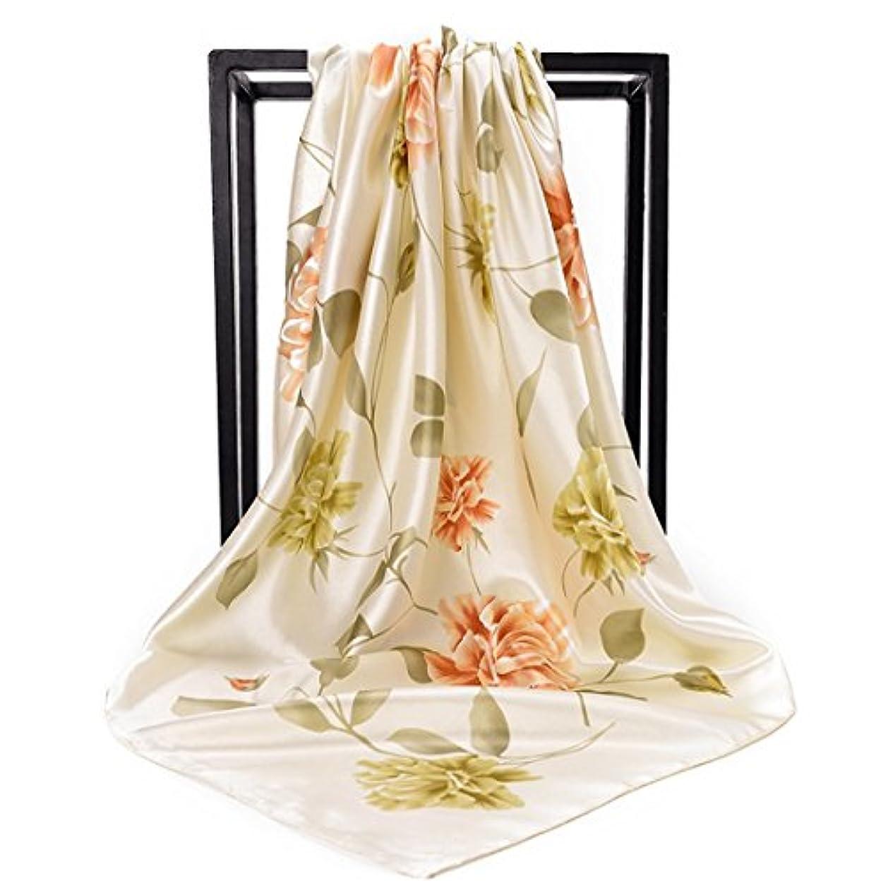 アーサーコナンドイルキャプションボランティアCATYAA プリントスクエアスカーフサテンシミュレーションシルクスカーフサテンスカーフイスラム教徒の頭皮スカーフ女性の女性の女性 (Color : Beige, サイズ : 90 * 90cm)