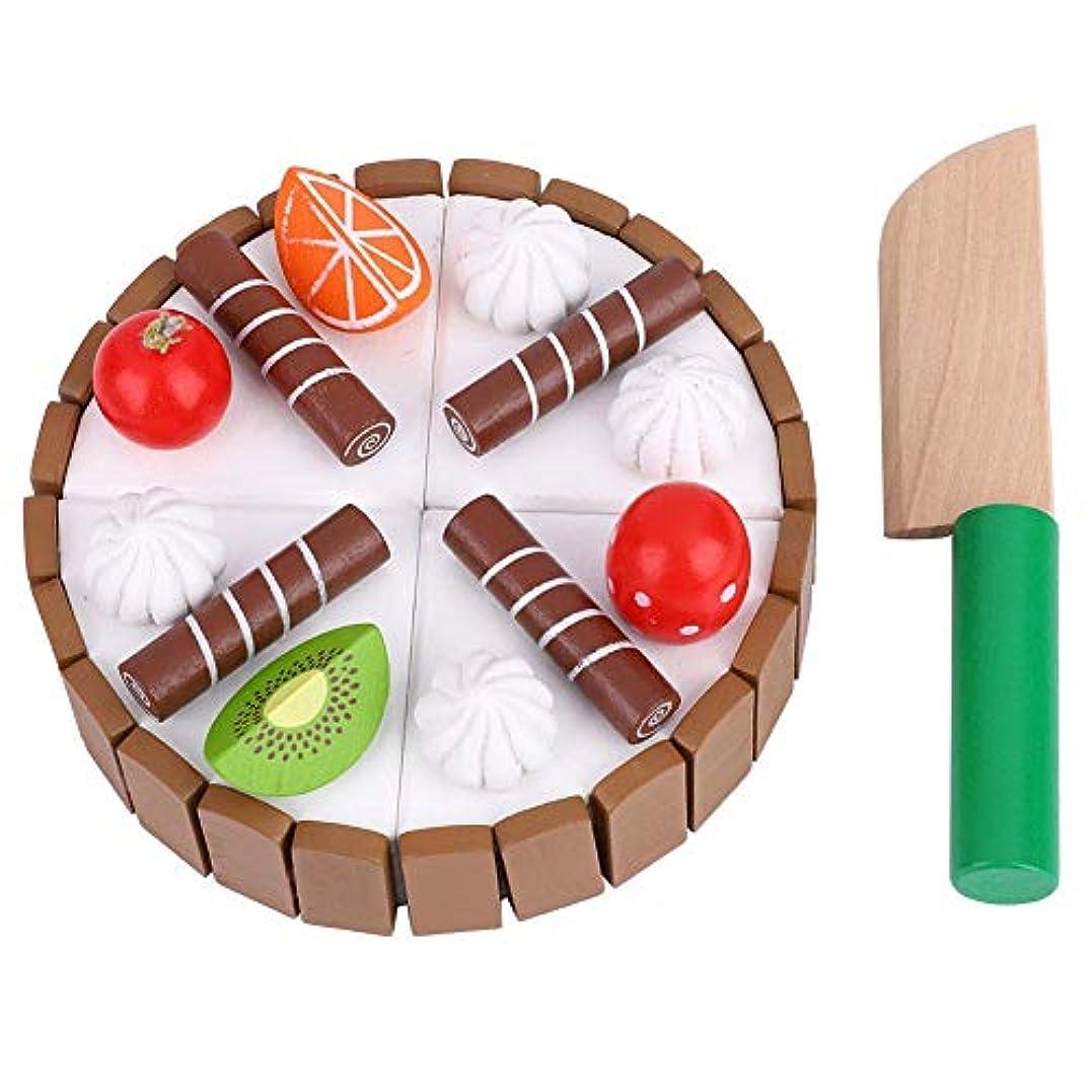推定する安価な固執キッズふりプレイおもちゃ、磁気木製カッティングフルーツケーキふりプレイ子供キッド教育玩具キッズおもちゃ