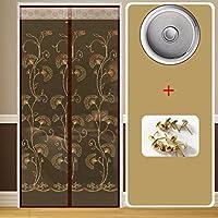 LJ&XJ Velcro 布メッシュ カーテン,夏パーティション防蚊磁気ソフトより良い換気寝室画面のドアをシール-G 100x210cm(39x83inch)