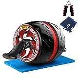 NAKO 腹筋ローラー エクササイズローラー 筋トレ アブホイール 膝マット付き スリムトレーナー トレーニング アシスト機能 (ホワイト)