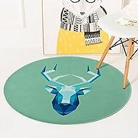 エッジへ カーペット 北欧の漫画動物の鹿ラウンドカーペットベッドルームのベッドサイドリビングルームコーヒーテーブルホーム肥厚のコンピュータチェアカーペットクロールマット ( サイズ さいず : Diameter 180cm )