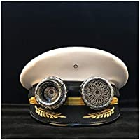 2020 Womens Hats Caps Retro Women Men Military Hat Germany Officer Visor Cap Steampunk Army Hat Fashion Casual Soft Adjustable Cortical Police Cap Cosplay Hat (Color : White, Size : 60cm)